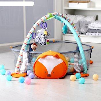 Развивающий коврик лисичка 3 в 1, игрушки, 30 цв.шаров (упак.6шт.),