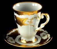 Набор для каппучино кленовый лист белый 408(чашка260мл.+блюдце)