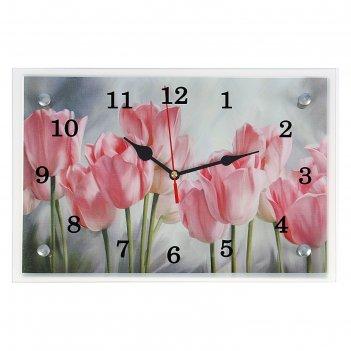 Часы настенные, серия: цветы, розовые тюльпаны, 20х30  см, микс
