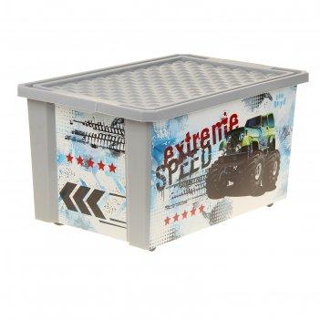 Ящик для хранения игрушек супер трак, 57 л, на колёсах