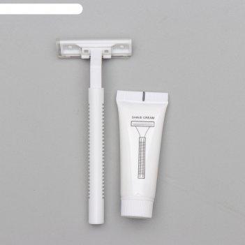 Бритва стандарт с двумя нержавеющими лезвиями и крем для бритья 10 гр.