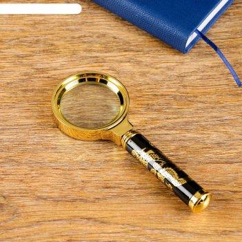 Лупа сувенирная стиль х3, цвет золото с коричневой ручкой