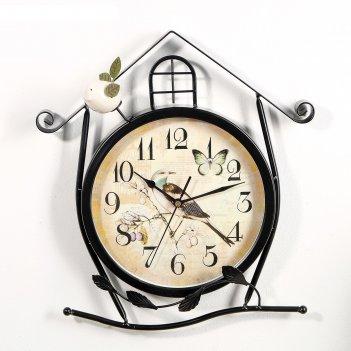 Часы настенные, серия: животный мир, птичка в домике, круглые, 36х5х42 см