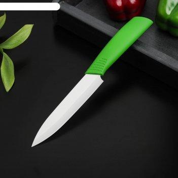 Нож керамический «симпл», лезвие 12,5 см, ручка soft touch, цвет зелёный