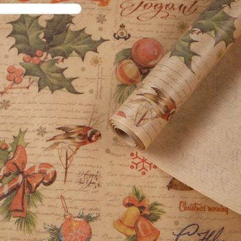 Бумага упаковочная крафт новый год ретро 0,84 х 10 м