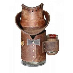 Кружка пивная шериф в кожаном чехле (коричн.)