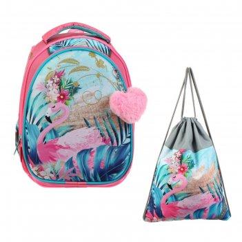 Рюкзак каркасный luris 38 х 27 х 19 джой 2, для девочки + мешок для обуви
