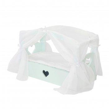 Кроватка с бельевым ящиком  серии «любимая кукла» мини, цвет аквамарин