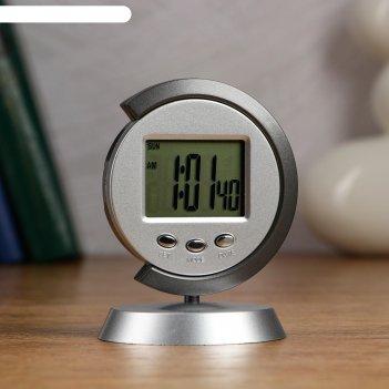 Часы настольные электронные таурис: календарь, будильник, 1 ааа,  7.7х11 с