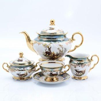 Чайный сервиз на 6 персон корона охота зеленая  15 предметов