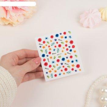 Слайдер-дизайн для ногтей цветы, водный, цвета микс
