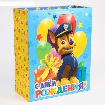 Пакет ламинат вертикальный с днем рождения, щенячий патруль, 40х49х19 см