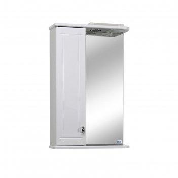 Шкаф-зеркало троя 45 левое, подсветка, цвет: белый глянец