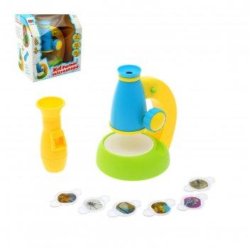 Игрушка обучающая микроскоп, 6 предметов, с 2 увеличительными лупами цвета