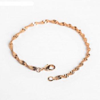 Браслет металл цепь узкий завиток, цвет золото, ширина 3 мм, l=19,5 см