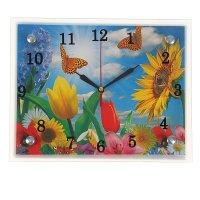 Часы настенные прямоугольные цветы и бабочки, 20х25 см