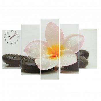 Часы настенные модульные «цветок на камне», 80 x 140 см