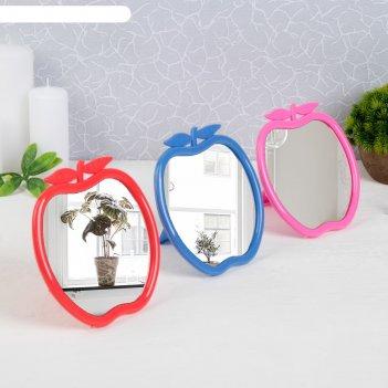 Зеркало настольное яблоко, цвета микс