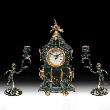 Часы настольные собор малые с канделябрами на 1 свечу, набор из 3 предм.