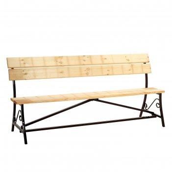 Скамейка 2000х900 с досками и ковкой, шоколад