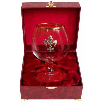 Бокал для коньяка с дв. золотой каймой (лилия, латунь) в шкатулке