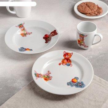 Набор посуды 3 пр игрушки (т. 20 см мел., т. 20 см глуб., кружка 210 мл)