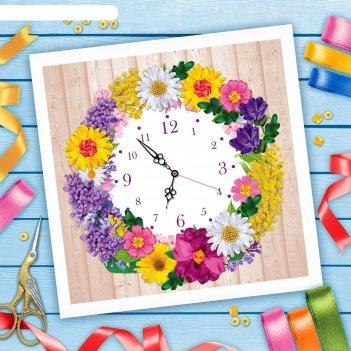 Вышивка лентами часы из цветов, 35 х 35 см