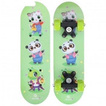 Скейтборд детский зверюшки 44 х14 см, колеса pvc 50 мм, пластиковая рама