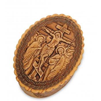 Bst-139 шкатулка  распятие иисуса христа (береста)