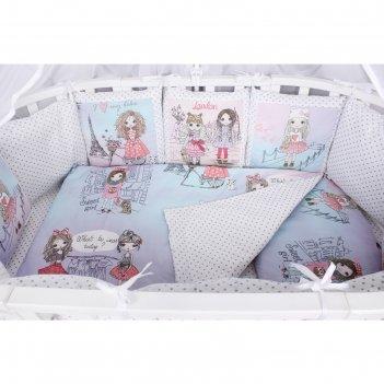 Комплект в кроватку premium little crystal, 19 предметов, поплин, цвет роз