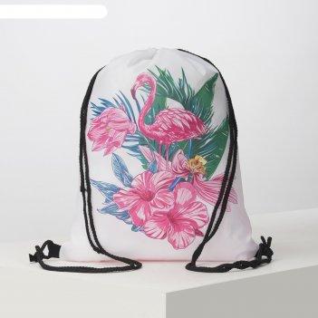 Мешок для обуви фламинго в цветах, 32*0,5*40, отд на шнурке, розовый