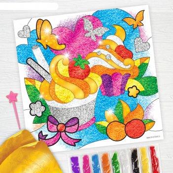 Фреска песком сладкое настроение + 9 цветов песка по 4 гр, блёстки, стека