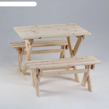 Комплект садовой мебели душевный: стол 1м, две лавки(ксл-02)