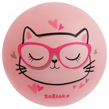 Мяч детский кошечка в очках 22 см, 60 гр