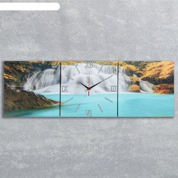 Часы-картина настенные прямоугольные «лесной водопад», 35 x 105 см