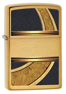 Зажигалка zippo gold & black, латунь с покрытием brushed brass, золотой с