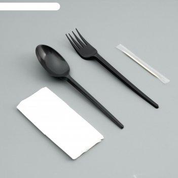 Набор одноразовой посуды вилка, ложка, салф.бум., зубочистка черный цвет