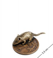 Am-1060 фигурка-кошельковая мышь на монетке (латунь, янтарь)