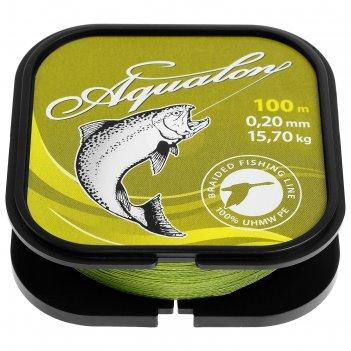 Леска плетёная aqua aqualon olive, d=0,20 мм, 100 м, нагрузка 15,7 кг