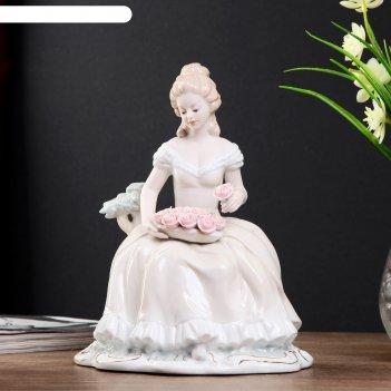 Сувенир керамика дама в бальном платье с тарелкой с розами 22х17х13 см