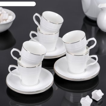 Сервиз кофейный либерика, 12 предметов: 6 чашек 85 мл, 6 блюдец 12 см