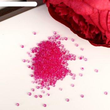 Бисер круглый прозрачный ярко-розовый, размер 12/0, 20 г