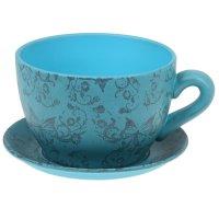 Горшок для цветов с поддоном 800 мл чайная пара голубое
