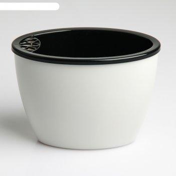 Кашпо овальное глянец 14х8,7х10 см, цвет черно-белый