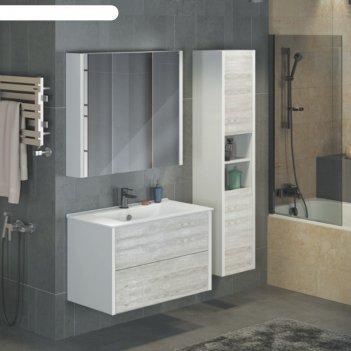 Зеркало-шкаф comforty «женева-90» дуб белый
