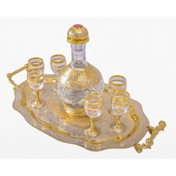 """Набор водочный """"кристалл"""" (графин, 6 рюмок, поднос)  златоуст"""