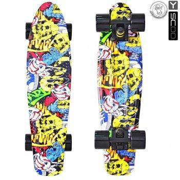 "401g-с скейтборд y-scoo fishskateboard print 22"" винил 56,6х15 с сумк"