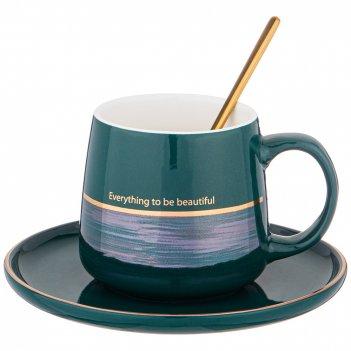 Чайная пара с ложкой lefard break time 240 мл зеленая (кор=24наб.)