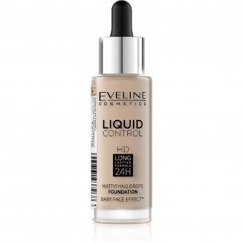 Тональная основа eveline liquid control, инновационная жидкая, тон 015 lig