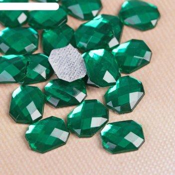 Стразы термоклеевые прямоугольник, 50шт, 6 х 8мм, цвет зелёный